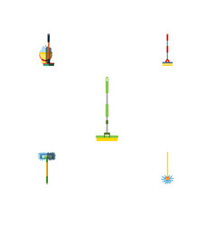 flat icon mop set of besom mop broomstick and vector image vector image