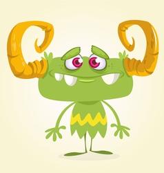 Halloween cute green monster vector image