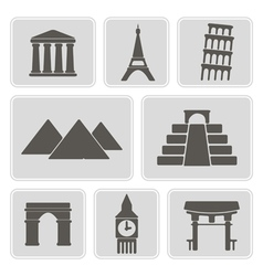 icons with architectural monuments of world vector image