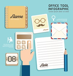 Infographic flat design icons office tool concept vector image vector image