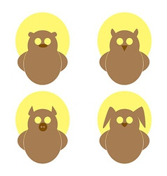 Logo owl bear hare pig on a yellow circle vector image vector image
