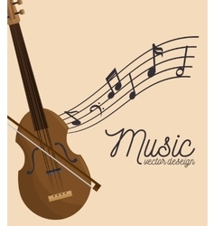 music festival fiddle wooden and notes vector image