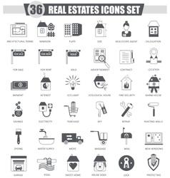 Real estates black icon set Dark grey vector image vector image