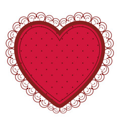 silhouette heart with decorative frame in red vector image vector image