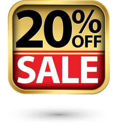 20 off sale golden label with red ribbon vector