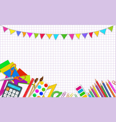 Back to school posters template with colorful vector
