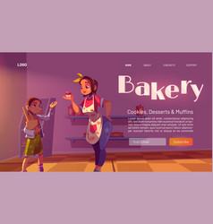 bakery cartoon landing page bake house production vector image