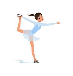 Beautiful figure skater girl in short blue dress vector