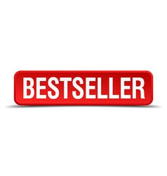 Bestseller red three-dimensional square button vector