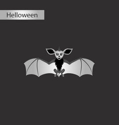 black and white style icon of cute bat vector image