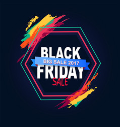 Black friday big sale 2017 text in hexagon frame vector