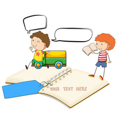 blank notebook with two boys reading vector image