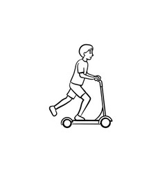boy riding a kick scooter hand drawn sketch icon vector image