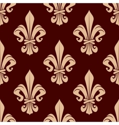 Brown and beige lilies seamless pattern vector