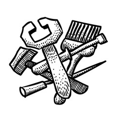 Cartoon image of tools icon repair service vector