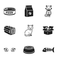 Cat equipment set icons in black style Big vector image
