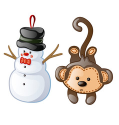 Christmas toys as figurine snowman and monkey vector