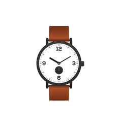 classic watch with brown leather strap isolated vector image