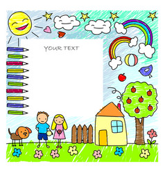 Colored doodle children drawings template vector