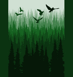 Coniferous forest pine trees silhouette vector