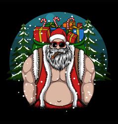 Cool santa brings me a merry christmas gift vector
