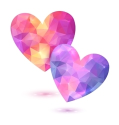 Couple of faceted pink hearts vector image