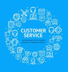 customer service signs round design template thin vector image