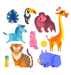 Cute jungle animals set exptic wild collection vector