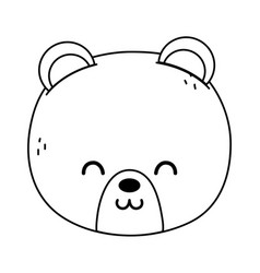 Cute polar bear head on white background thick vector