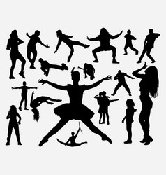 dance training silhouette vector image
