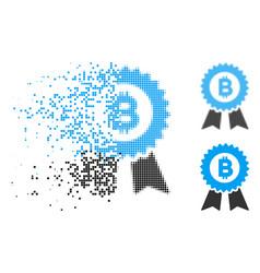 Disintegrating pixel halftone bitcoin seal with vector