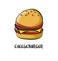 Drawing cheesburger vector