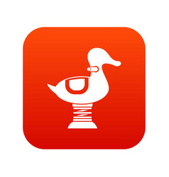 Duck spring see saw icon digital red vector