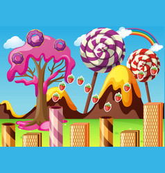 Fantacy land with lollipop and donuts vector