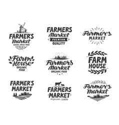 Farmers market logo farm farming icons vector