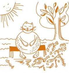fat cat after dinner cartoon vector image