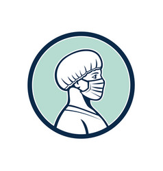 Female nurse wearing face mask side profile mascot vector