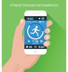 fitness app on mobile phone in hand vector image