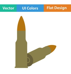 Flat design icon of rifle ammo vector