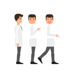 Flat make doctor character creation set side view vector