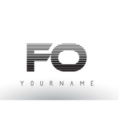 fo f o black and white horizontal stripes letter vector image