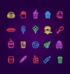 food neon icons burger ice cream and drinks hot vector image