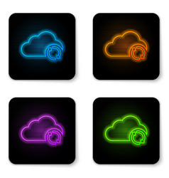 glowing neon cloud sync refresh icon isolated on vector image