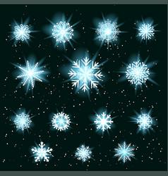 glowing snowflakes set vector image