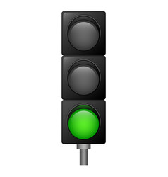 green color traffic lights icon realistic style vector image