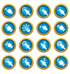 Hand click icons set simple style vector