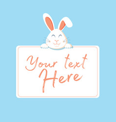 happy easter web banner greeting card with rabbit vector image