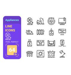 Home appliances line icons set vector