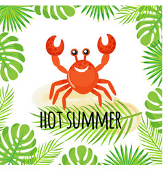 hot summer cute crab waving claw exotic holiday vector image