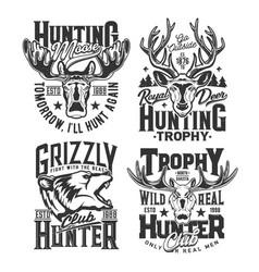 hunting shirt prints hunt club trophy animals vector image